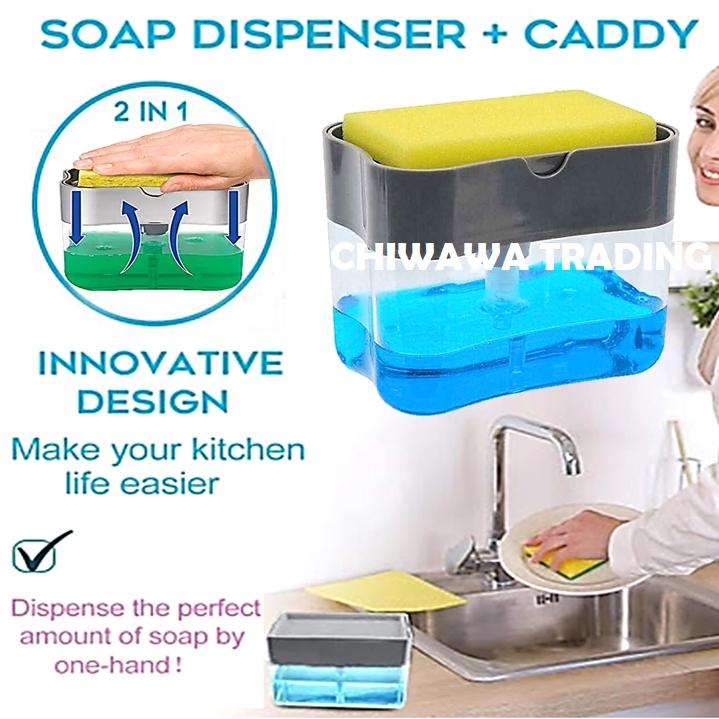 Dishwasher Soap Dispenser Hand Push Pressure Pump Washing Cleaning Dishes Sponge Holder For Bathroom And Kitchen