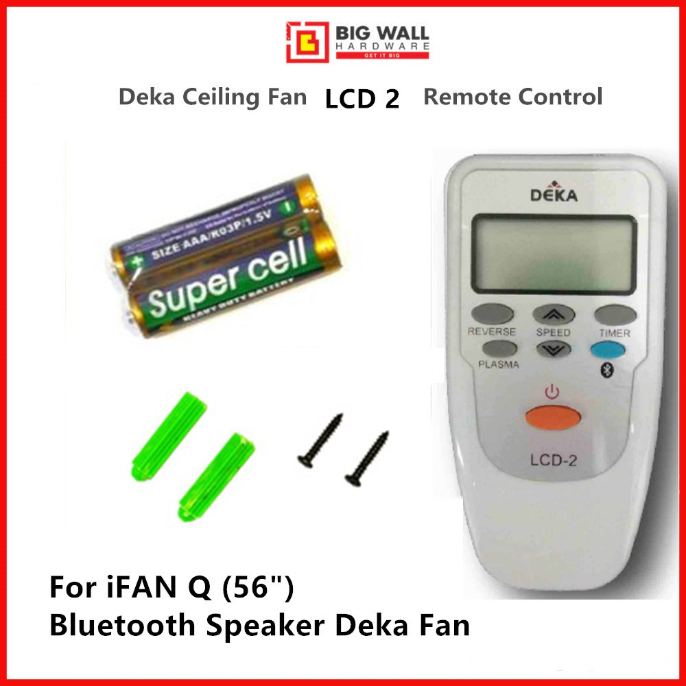 Deka Remote Control LCD 2 / LCD 3 For Ceiling Fan  Speeds Timer Plasma & Reverse Function *Free 2pcs Batteries & Holder