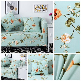 Light Green Fresh Style Flower Pattern 1 2 3 4 Seat Sofa Cover Universal Size