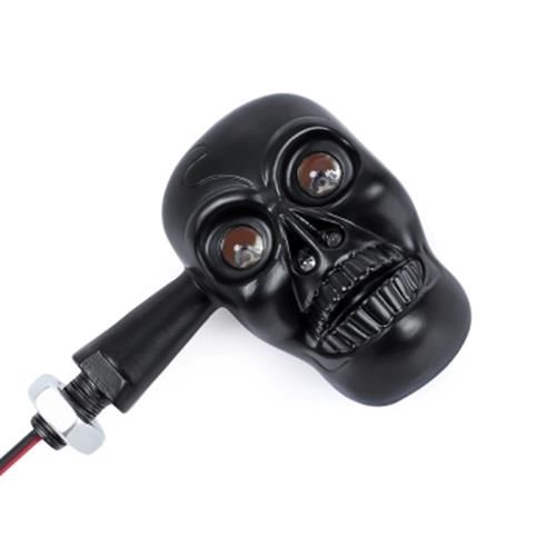 PAIR OF MOTORCYCLE MOTORBIKE SKULL SHAPE TURN SIGNAL LIGHT LED INDICATOR LAMP