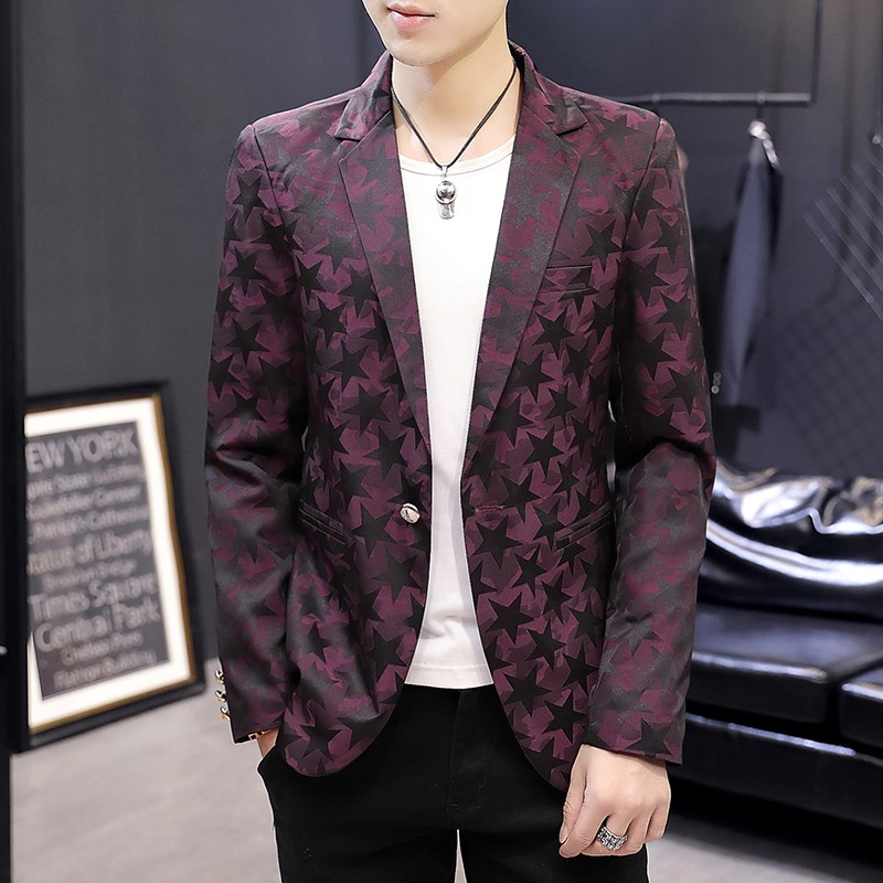 Korean Version Men Blazer Floral Mens Suits Tuxedos Mens Blazer Jacket Wedding Suits For Men Black Red Blue Shopee Malaysia