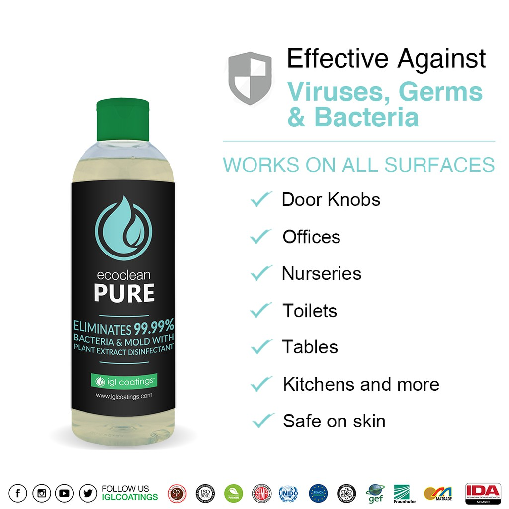 IGL Ecoclean Pure Refill No Sprayer Multipurpose All Surface Sanitizer 75% Alcohol Disinfectant Spray