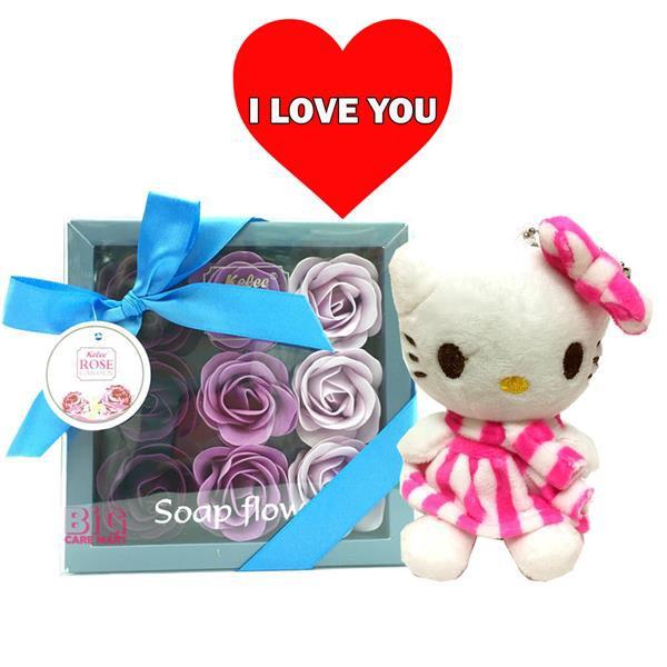 Valentine\'s Day Gift Rose Flower in Box + Hello Kitty
