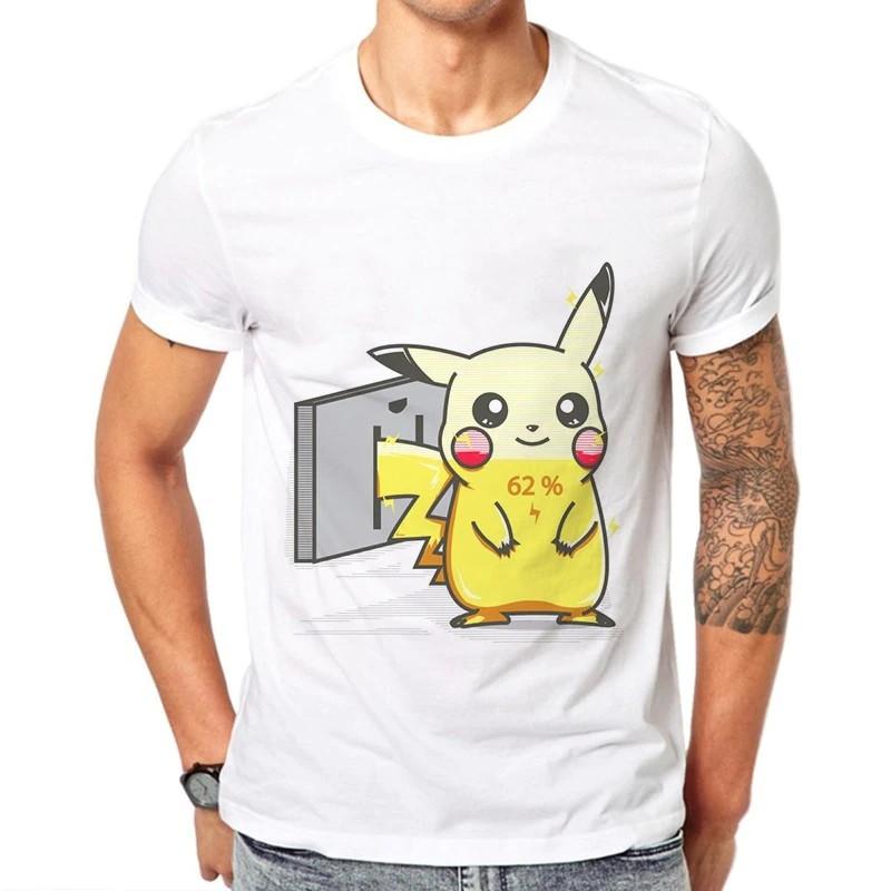 60aec0905ba Graphic Pokemon Tshirt Men Funny Print Fashion Men Short Sleeve Summer  Streetwear Men Cotton White