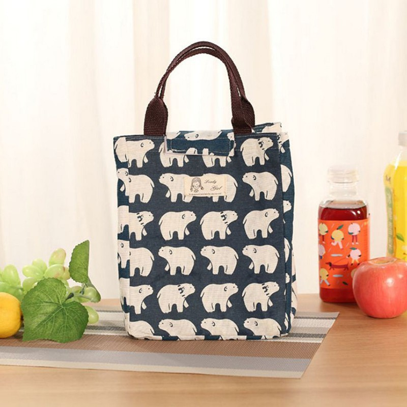 ed1a15022093 Lunch Bag Picnic Case storage Tote Package Bento Pouch Container