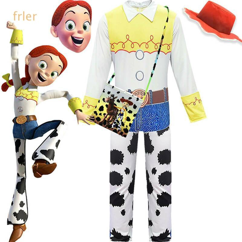4PCS Toys Story Woody Cowboy Costume Halloween Fancy Dress Jumpsuit Mask Outfit
