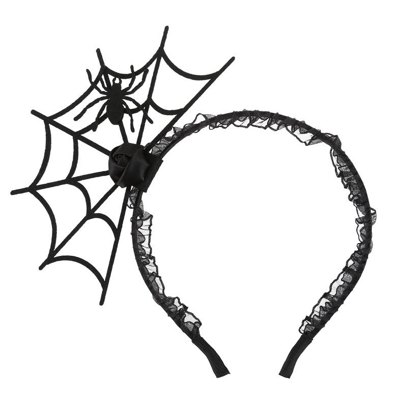 Honey Black Queen Vintage Gothic Spider Web Tiara Rhinestones Hair Hoop Halloween Party Masquerade Cosplay Accessory Women's Hair Accessories
