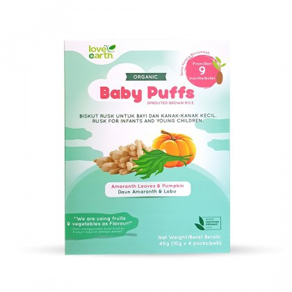 Love Earth Organic Baby Puffs Sprouted Brown Rice Amaranth Leaves & Pump 乐儿有机宝宝饼 - 苋菜叶 & 南瓜味 (10g X 4)