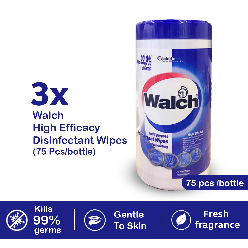 [Bundle of 3] Walch Disinfectant Wipes 75pcs Easy To Use Kills 99.9% Germs