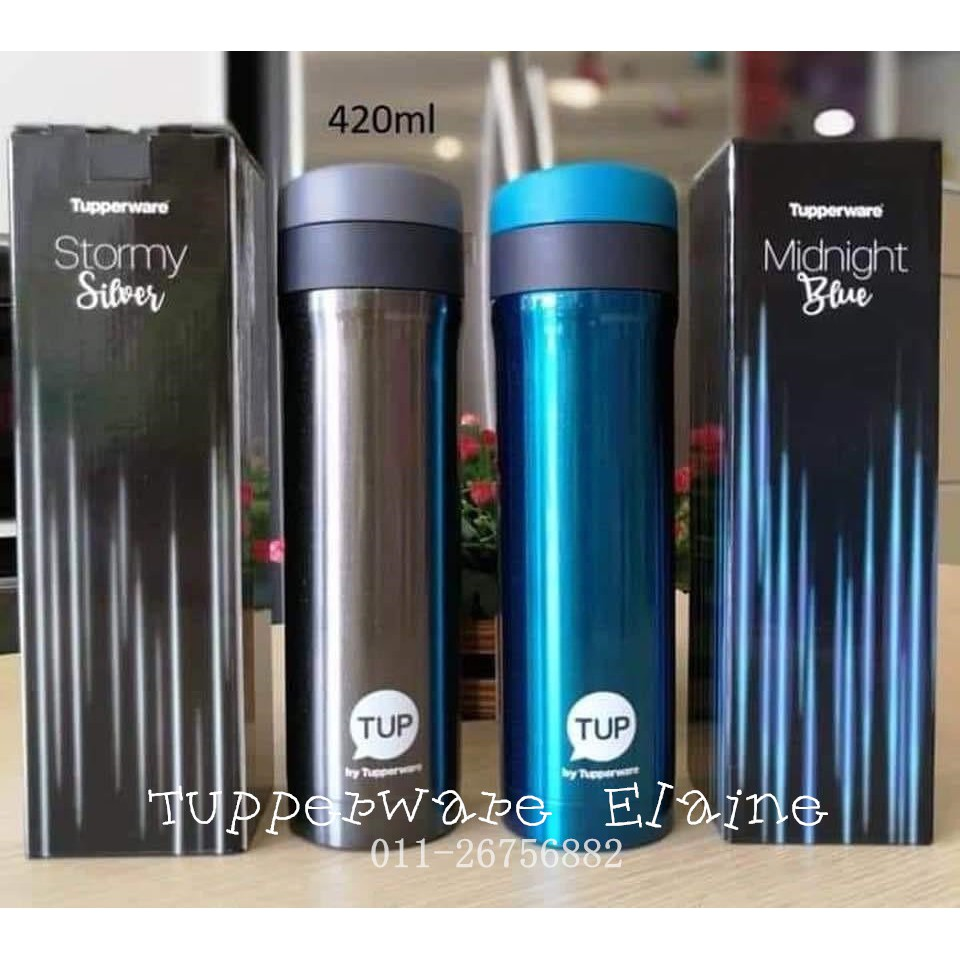 Tupperware Thermos Flask 420ml Red Black Blue Silver Grey