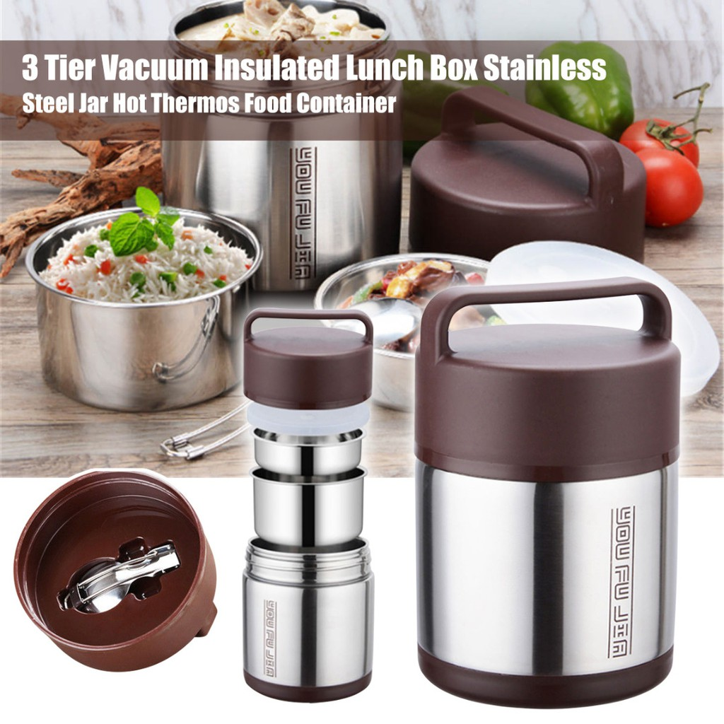 3 Layers Stainless Steel Warm Keep Lunch Box Food Container Hot