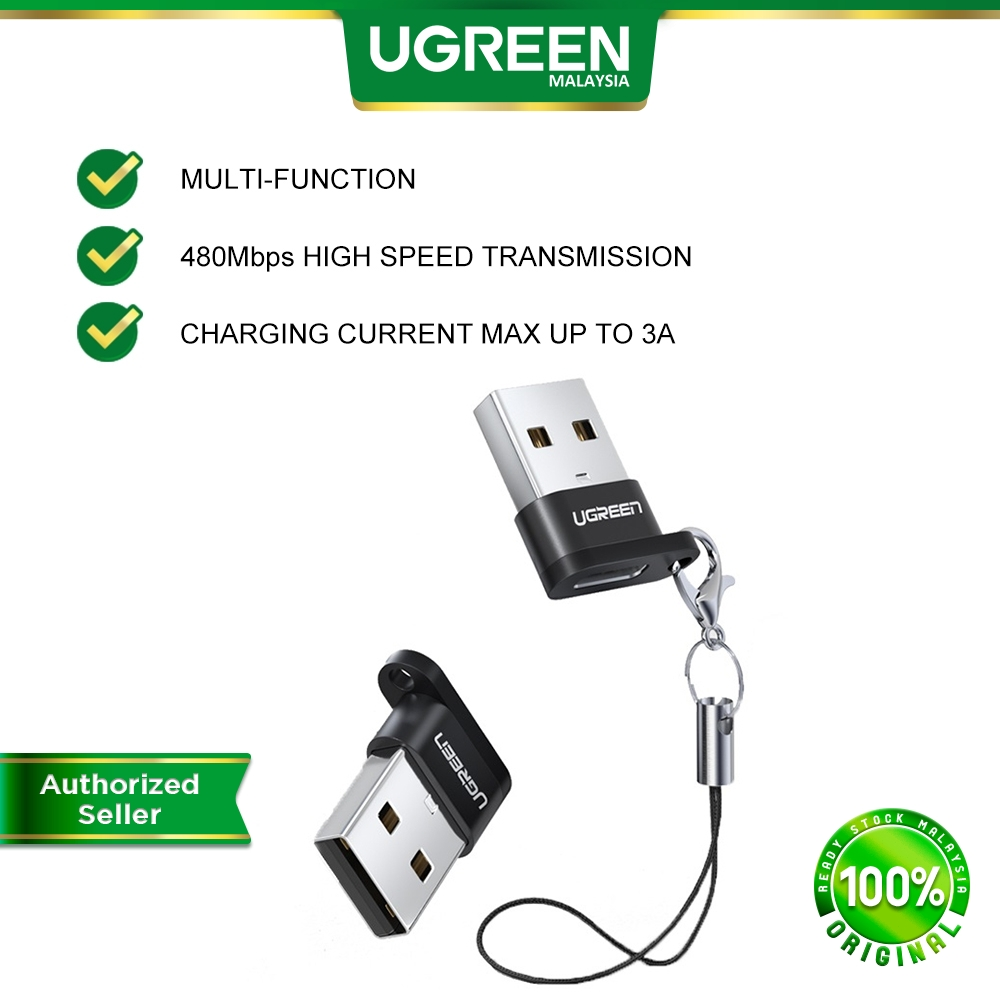 UGREEN USB A 2.0 Male to USB 3.1 Type C Female Connector Adapter Keychain Converter USB C Laptop Macbook Android Samsung