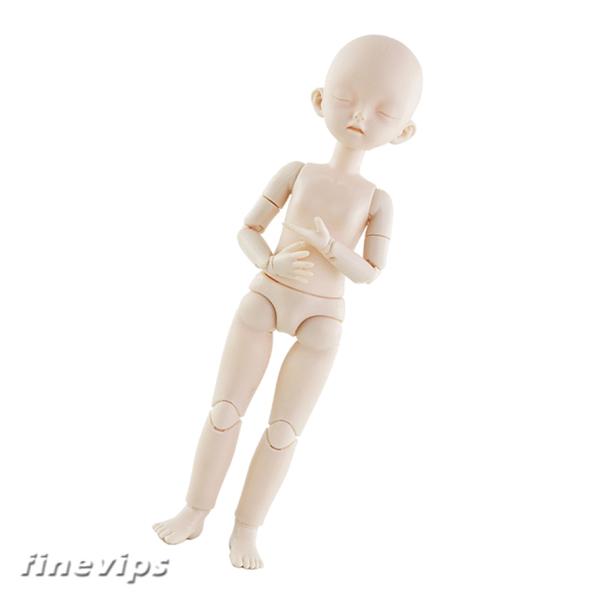 1//12 BJD Unpainted Blank Figure Doll Body Head w//Head DIY Accessory White Skin