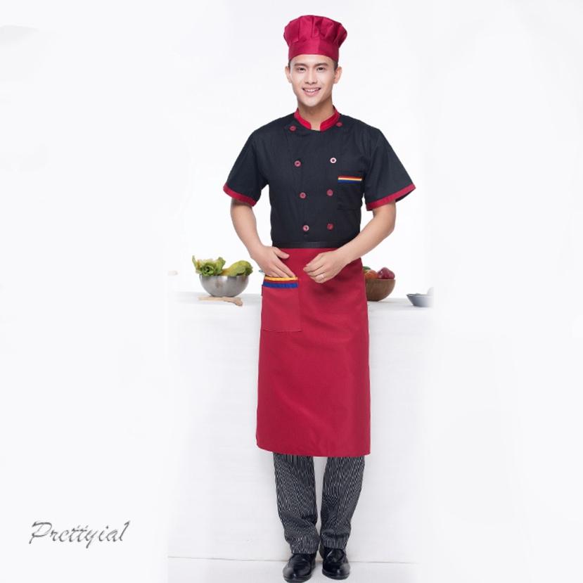 Unisex Black Pen Pocket Short Sleeve Executive Chefs Jacket Kitchen Coat