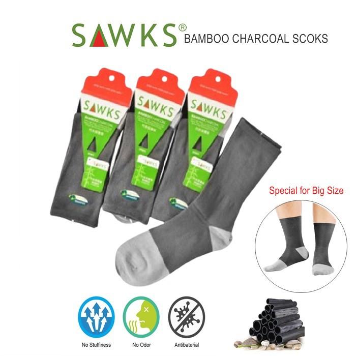 MALAYSIA: SEPASANG STOKIN ELAKI Men's Bamboo Charcoal Double Cylinder Quarter Crew Socks - ExtraBig