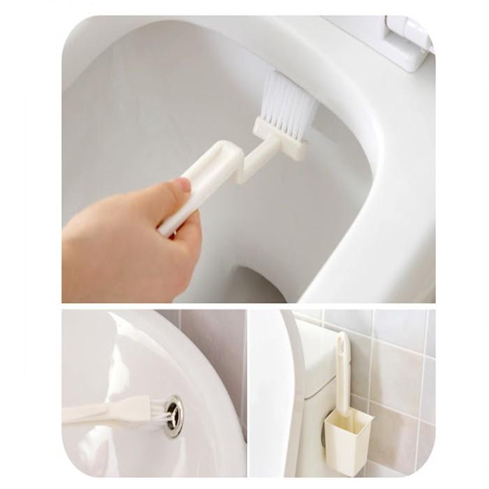 MALAYSIA: 2 DALAM 1 (BERUS+ BEKAS BERUS) Toilet Brush and Holder Set Bristles Bathroom Cleaning