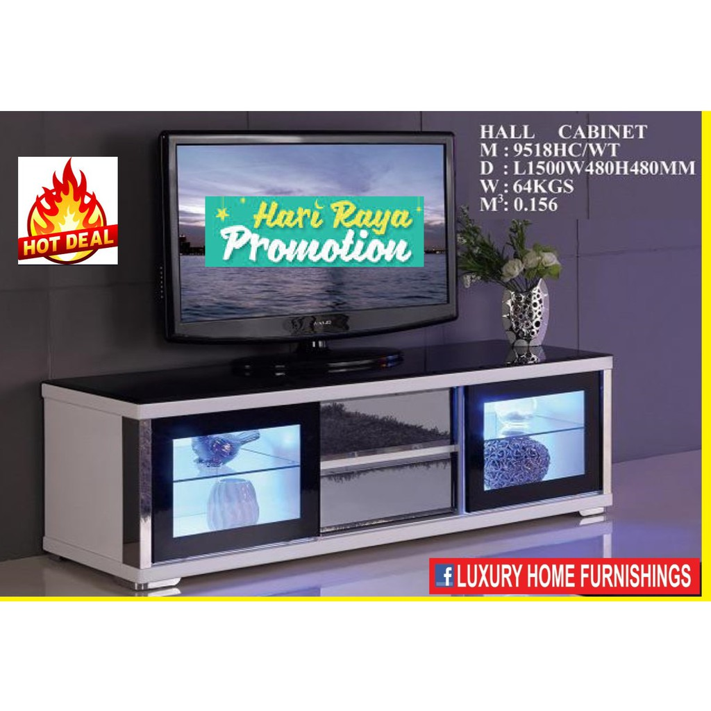 5ft High Gloss & Term-pared GLASS TOP Modern TV CABINET, white COLOR, IMPORTED Series!! RM 1,649!! 35% Off!