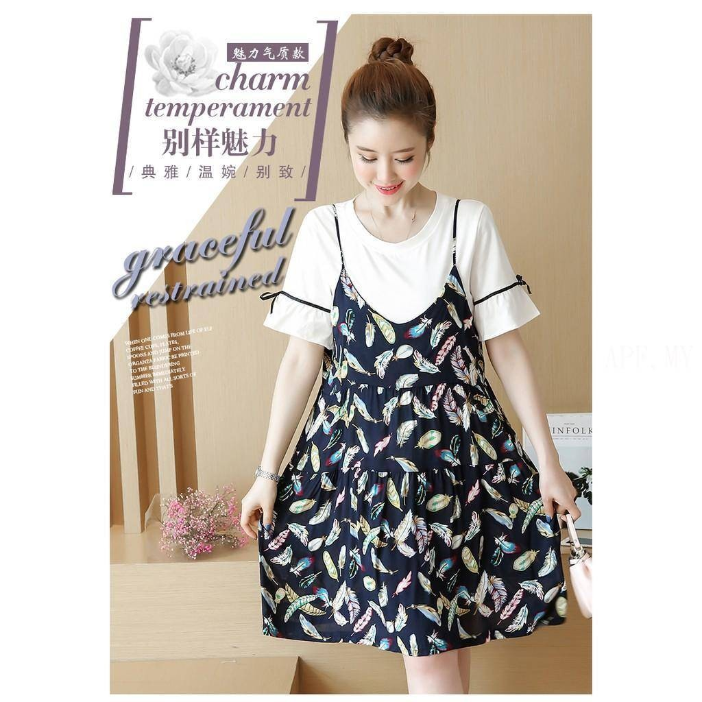 851379c32dc29 Summer new big size woman dress tide mother, pregnant woman   Shopee  Malaysia