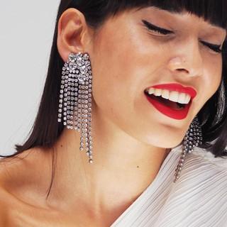 Women Long Tel Diamond Earrings Jewelry Weeding Accessories Crystal Stud Gold