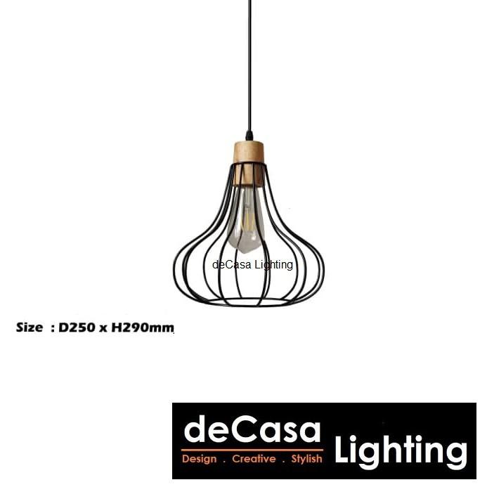 Decasa Lighting Black Pendant Light E27 Holder Single Pendant Lamp Designer Decorative Ceiling Light Lampu 5002