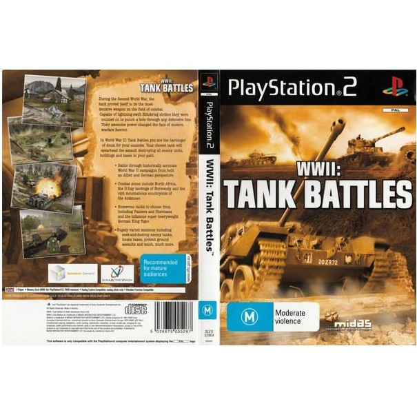 PS2 Game WWII Tank Battle (Copy Disc)
