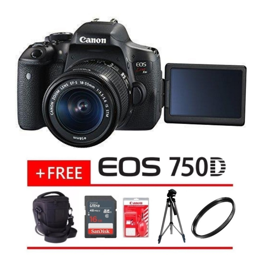 Package Canon Eos 750d Kiss X8i Dslr Camera With 18 55mm Lens Shopee Malaysia