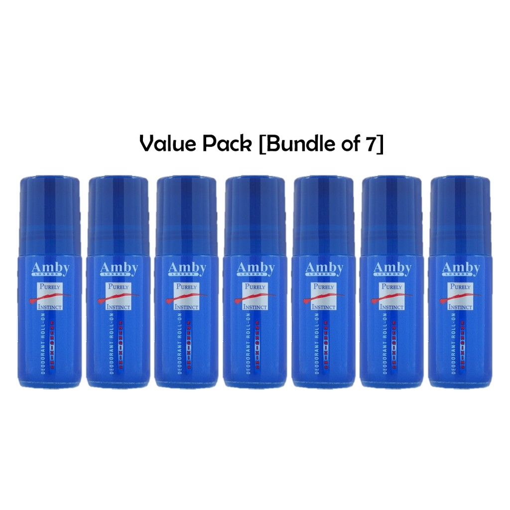 [Bundle of 7] Amby London Purely Instinct Deodorant Roll On 50 ml For Men Long Lasting Fragrance