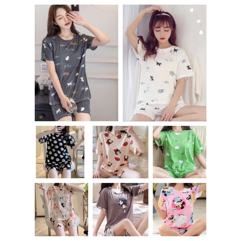 [READY STOCK] WOMEN MILK SILK SHORT SLEEVE & SHORT TROUSER SLEEPWEAR PYJAMAS WITH PRINTED DESIGN