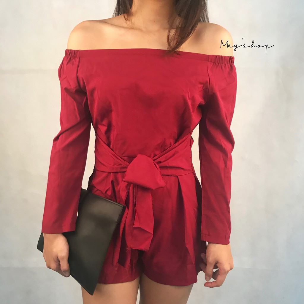 [ Clearance Stock ] Women Off-shoulder Red Playsuits