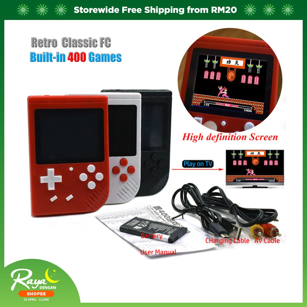 400 Games In 1 Super Mario Retro 2 8 Inch LCD 8 Bit AV Out Portable Console