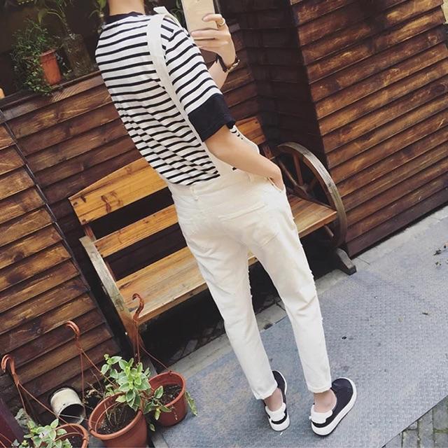 [M~2XL]Men Clothing Korean Casual Denim Jumpsuits 背带裤九分裤男士韩版长裤休闲破洞裤男士背带裤小脚连体裤修身潮