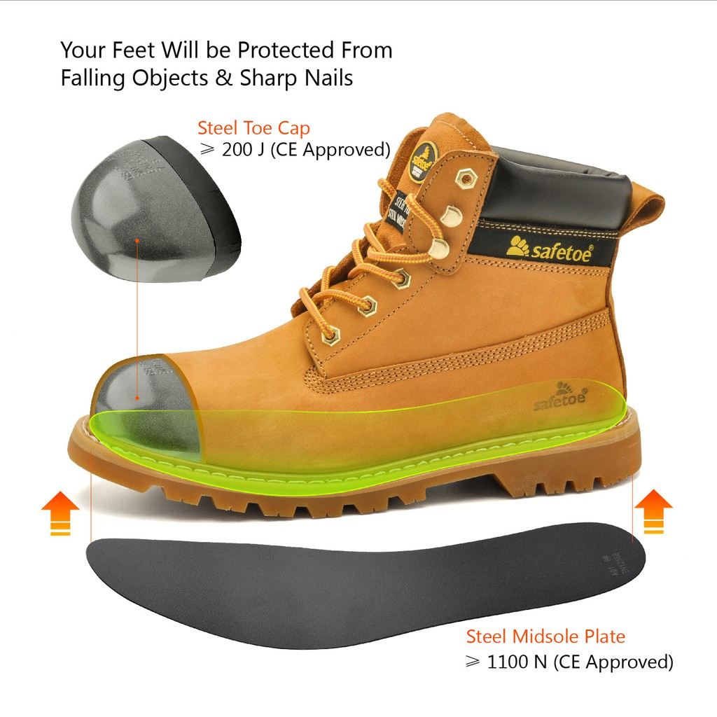 3ef44b4850c SAFETOE Work Boots for Men - M8173 Women Leather Wide Width Safety ...
