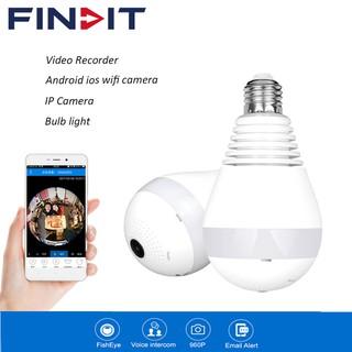 360°Wide Angle Fisheye WiFi IP Hidden Camera Bulb LED Lights 1080P HD