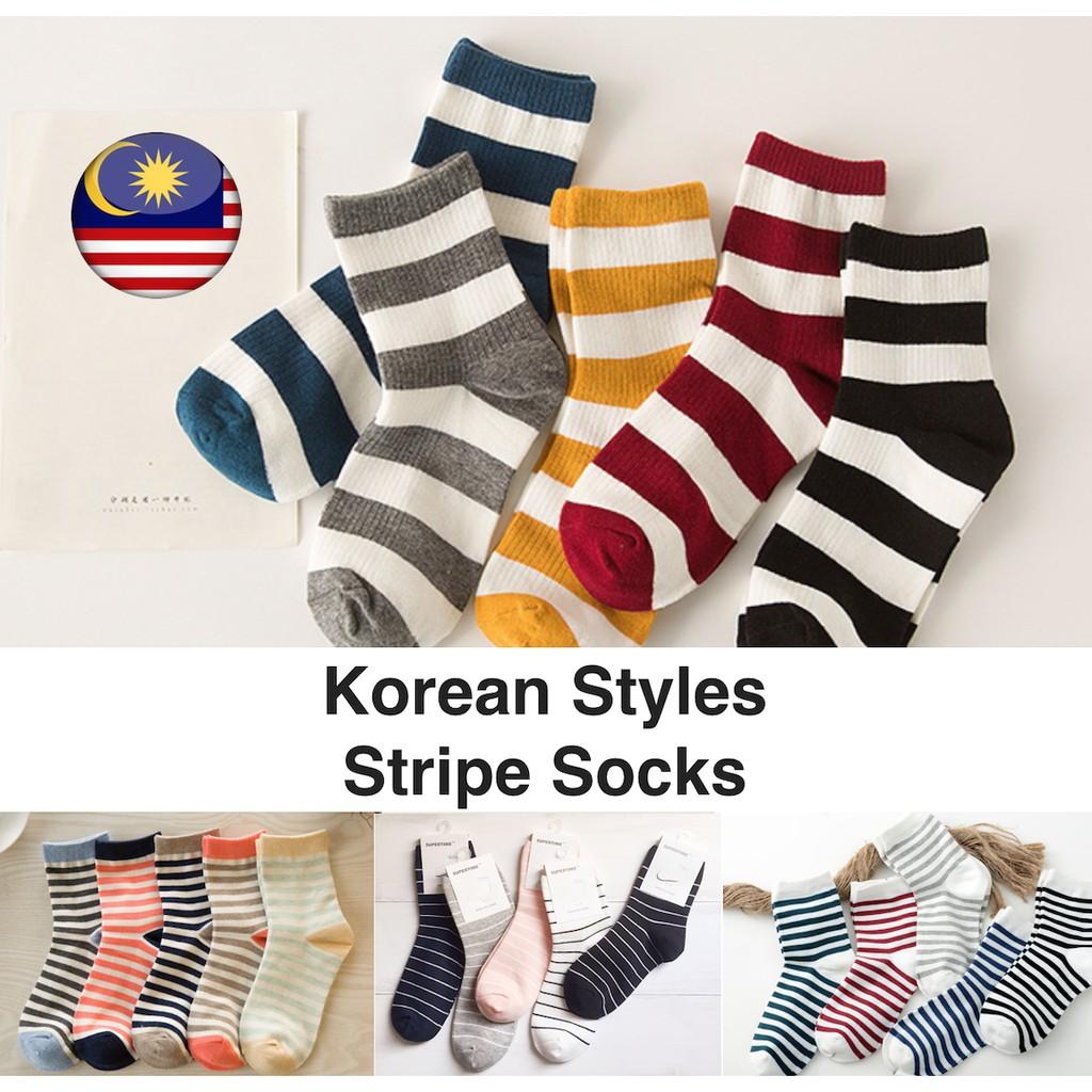 3e2c4d622068e Korean Style Stripes Quarter/Crew Socks, Ready Stock