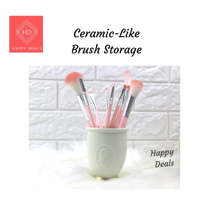 Makeup Brush Holder Storage with Sculpture Flower Painting Artistic Makeup Brush Holder Stationery Holder Pen Holder