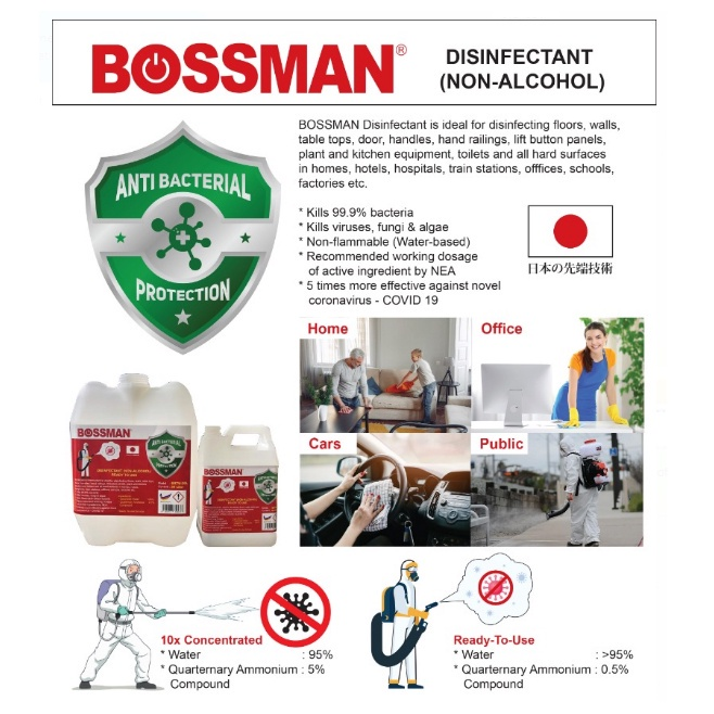 Bossman Disinfectant (Non-Alcohol) 4 litre Concentrated Ready To Use Spray Antibacterial Virus 99.9% Kill Pembasmi kuman