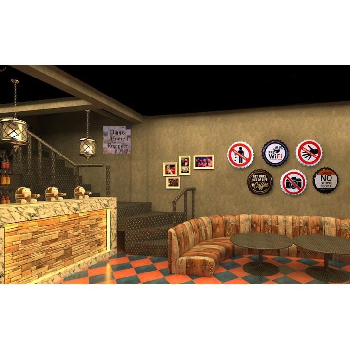 35cm Beer Cap design No Smoking Metal Tin Hanging Sign Creative Wall Decoration