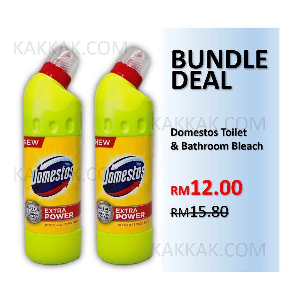 [BUNDLE DEAL] DOMESTOS Toilet & Bathroom Bleach Cleaner Liquid Toilet Bowl Cleaning 500ml x2 bottles (CITRUS FRESH)