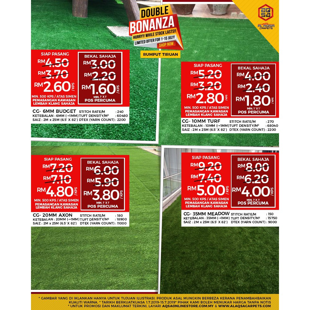 Aqsa Grass Outdoor Artificial Grass Carpet Fake Grass Karpet Rumput Tiruan  Synthethic Turf Murah Free Pos Rectangle