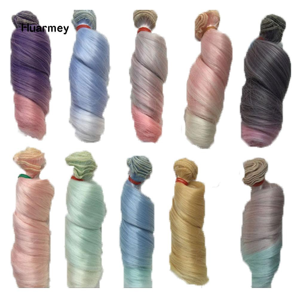 ★Hu Gradient Curly Wig Natural Long Hairpiece Accessory for 1/3 1/4 1/6 BJD Doll