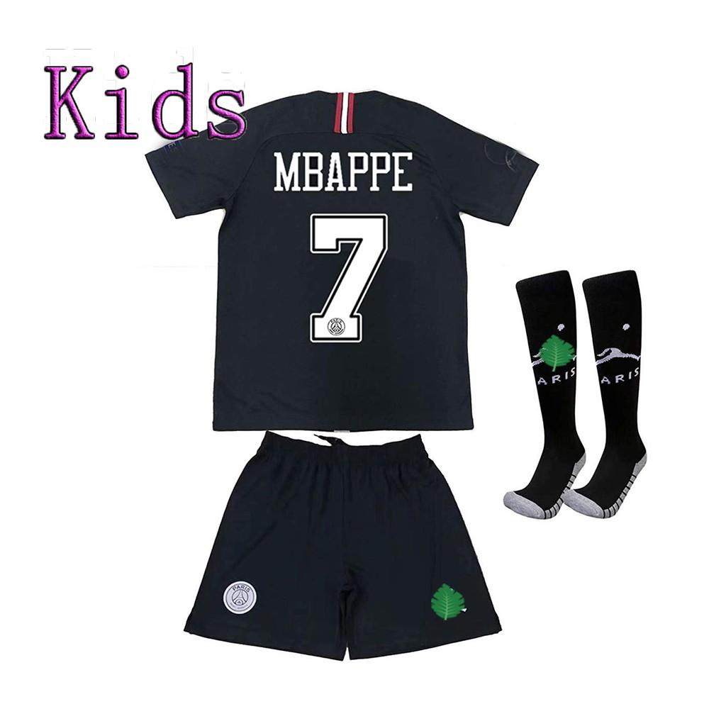 on sale 5e420 20585 (Free Socks) Kids PSG 7 Mbappe Jersey Black