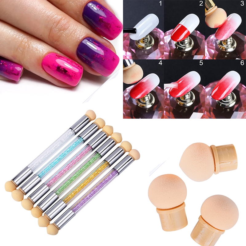 1pcs Gradient Nail Art Brushes Sponges Ombre Nails Design Painting Glitter Powder Picking Dotting Acrylic Manicure Tools Shopee Malaysia
