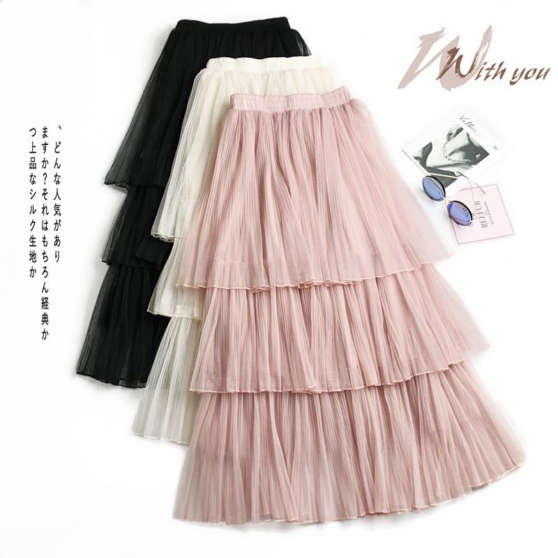 9eb7be959a Cake skirt spring and summer skirt fairy mesh skirt new long paragraph  Princess | Shopee Malaysia