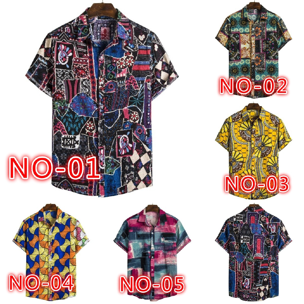 YYG Men Short Sleeve Buttons Casual Beach Floral Print Shirts