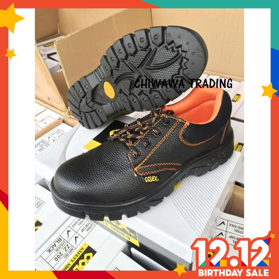 COLEX ZZ200 High Quality Steel Toe Cap Mid Sole Low Cut Safety Shoe Shoes Kasut Kerja Besi Selamat (Black)