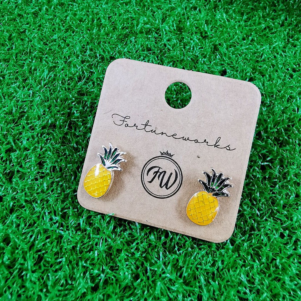 FORTUNEWORKS Handpainted Summer Collection Hypoallergenic Stud Earrings Flower Fruits Rainbow Fan Sailboat Clover Daisy