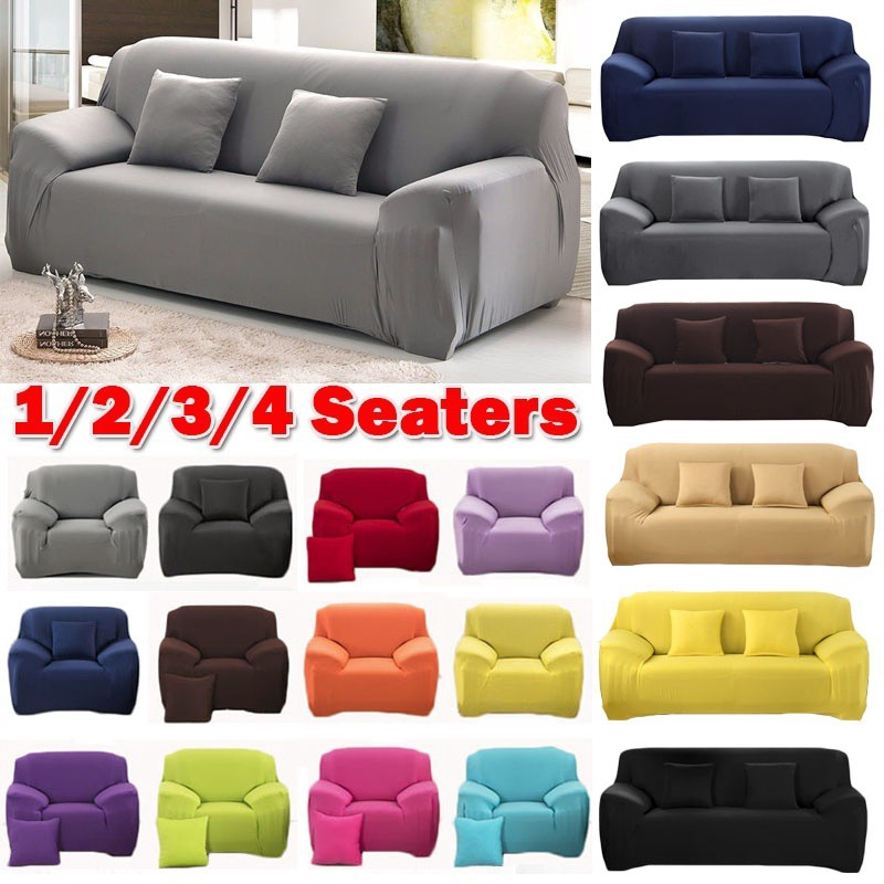 1 2 3 4 Seater Sofa Covers Couch SlipCover Elastic Fabric Stretch Chair Cover