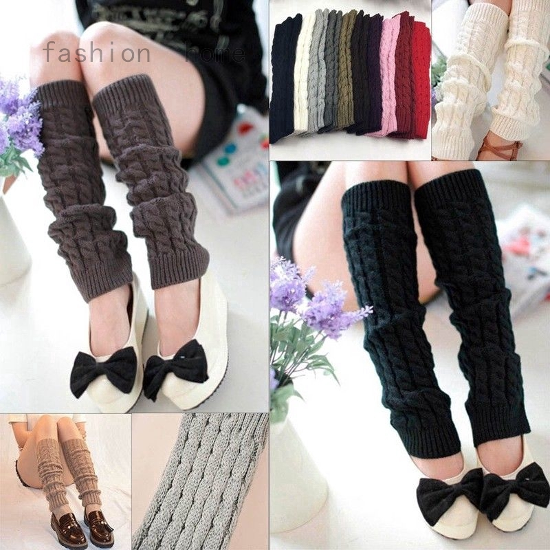 Women Leg Warmers Winter Long Cuffs Crochet Over Knee Ankle Leggings Socks Boots