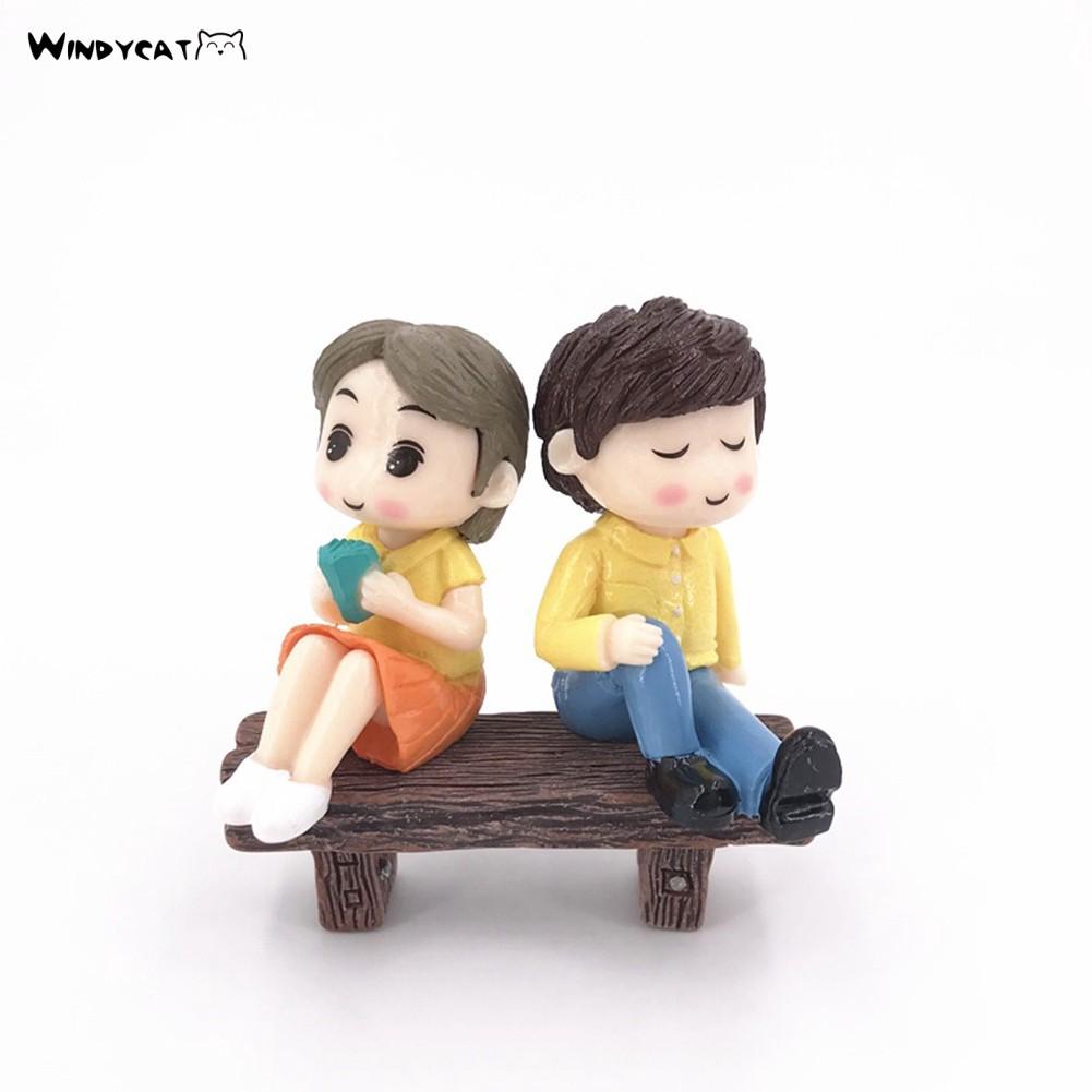 Pair Miniature Bonsai DIY Craft Terrarium Figurine Depressed Lovers Decor