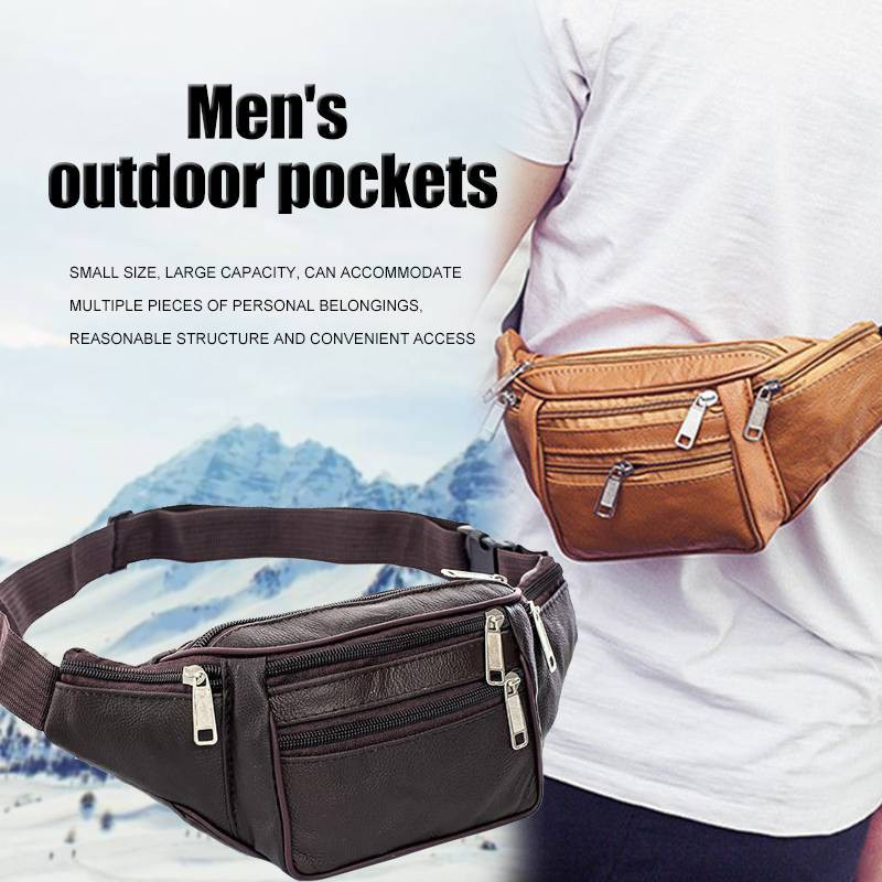 7ee991ff8c62 NEW Leather Fanny Pack Mens Waist Belt Bag Womens Purse Hip Pouch Travel